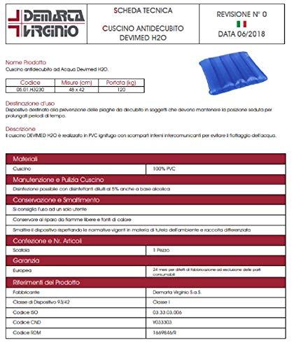 De Merta – Cojines antiescaras de agua DEVIMED H2O – de PVC ignífugo destinado a la prevención de úlceras por decúbito. 48 x 42 cm. Capacidad de carga: 120 kg