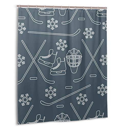 Blived Duschvorhang,Nahtloses Muster mit Schlittschuhen,Torwart,Hockeyschläger,Eishockey,Wasserdicht Bad Vorhang mit Haken 150cmx180cm