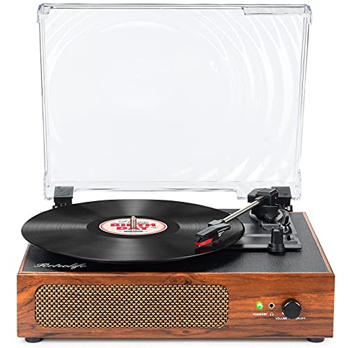 Vinyl Record Player Vintage Portable Record Player with Built-in Stereo Speakers Retro Turntable Belt-Driven Support 3-Speed, USB, RCA Line Out, AUX-in Headphone Jack for Vinyl Sound Enjoyment