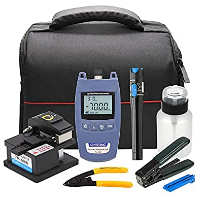 Fiber Optic Cold Connection Tools FTTH Tool Kit with Optical Power Meter 10mW Visual Fault Locator Fiber Cleaver Fiber Optic Stripper