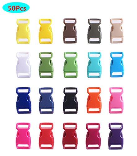 HONGCI 50pcs Seitliche Freigabe-Plastikmini Schnallen 3/8 Zoll für Paracord Armbänder, Hundehalsband, Gurtband, Bushcraft, Rucksack-Zusätze, Zelt (Zufällige Farbe)