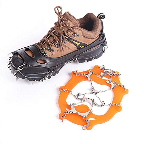 WenX - Crampones de acero inoxidable con trece dientes Cubrezapatos antideslizantes Cadenas de nieve para montañismo, crampones, large