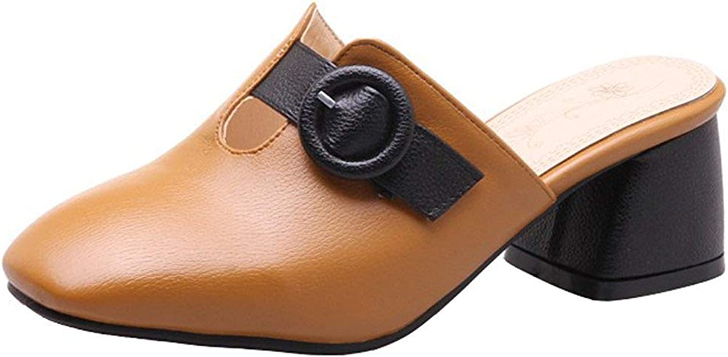 Ghssheh Women's Stylish Buckle Belt Square Toe Block Medium Heel Slide On Mule shoes Black 4 M US
