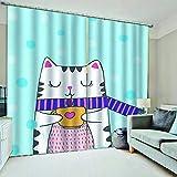 WAFJJ Cortinas Gato Azul 3D realistas del diseño,Sala de Estar Dormitorio Cortinas Ventana Set de Dos Paños