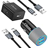 Fast Charger Kit, Compatible for LG Stylo 6/5/4, V60/50/V40/V35 ThinQ, V30/V20/G8 ThinQ/G7 ThinQ/G6, Rapid Wall Charger + Dual USB Car Charger, Quick Charge 3.0 Charger Set with 2 USB C Cords 3.3ft