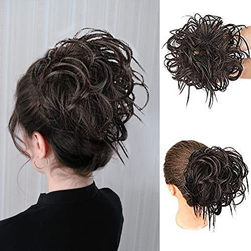 HMD Tousled Updo Messy Bun Hair Piece Hair Extension Ponytail With Elastic Rubber Band Updo Extensions Hairpiece Synthetic Hair Extensions Scrunchies Ponytail Hairpiece for Women (Brown Black)