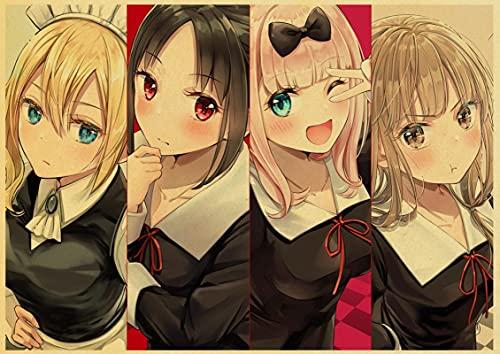 Japón Anime clásico Kaguya-Sama WA Kokurasetai Tensai-Tachi No Renai Zunousen Love Is War Póster Arte de Pared Habitación DEC 50x70 cm H-1345