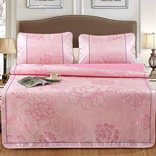 QZPM 3Pcs / Set Sommer-EIS-Silk Isomatte Komfortable Bettlaken Pillowcase Kit Home Textile Matratze Jacquard faltbares Pad kühlen,Rosa,2.0m Bed
