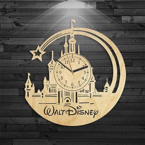 Kovides Walt Disney Wood Clock Disney Wood Clock Mickey Mouse Gift For Girl Bambi Birthday Gift Walt Disney Clock Cinderella Wall Clock Modern Cartoon Gift For Kids Alice In Wonderland Clock
