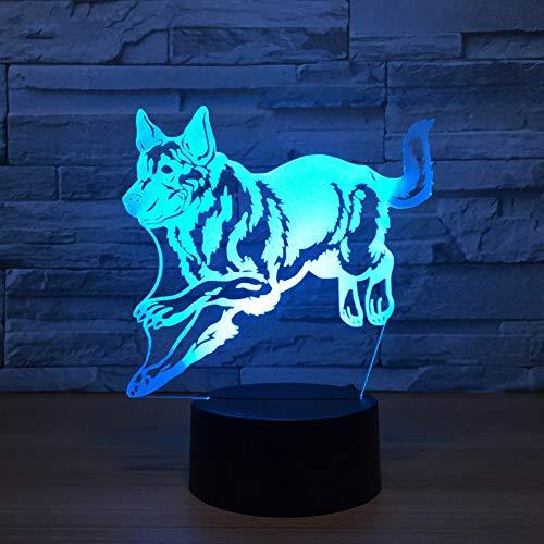 SXMXO Berger Allemand Running Dog 3D Lampe De Nuit Hologramme 3D Decor Lampe Tableau Coloré Lampes De Bureau Cadeau d'anniversaire pour Enfants Amis,7color+remotecontrol