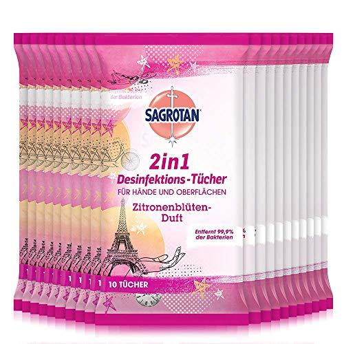 Sagrotan 2in1 Desinfektionstücher Paris Edition mit Zitronenblüten-Duft – Zum Desinfizieren von Händen und Oberflächen – 20 x 10 Feuchttücher in Design-Verpackung für die Reise
