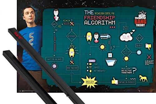 1art1 The Big Bang Theory Poster (91x61 cm) Friendship Et Kit De Fixation Noir