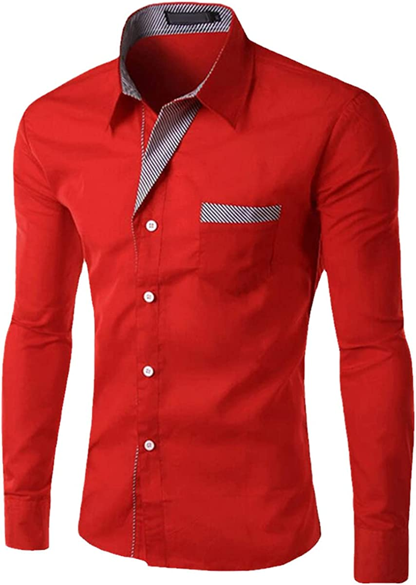 Spring Men's Shirts Casual Slim Formal Shirts Long Sleeve Business Social Shirts Patchwork Shirts