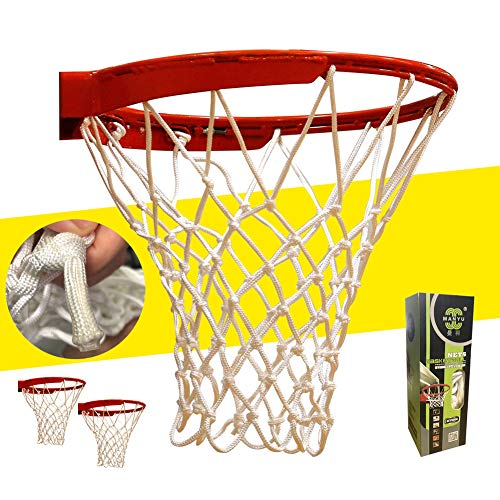 FrSara Basketball Net, Basketball Nets Heavy Duty Outdoor The Best Professional Game Net, High-Strength Material, Special Process Reinforcement,Thickening, Indoor and Outdoor Use, White, 12Loops 2Pcs