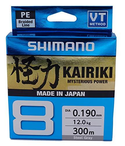 SHIMANO Kairiki 8, 300 Meter, Hellgrau, 0.215mm/20.8kg, 8fach Geflochtene Angelschnur, 59WPLA68R16
