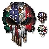Mexico USA Flag Skull Vinyl De...