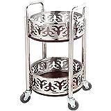 Carrito cocina Bebidas de la carretilla Sirviendo 2 bandejas de acero inoxidable con la rueda de goma de madera maciza de barandilla puede mover la mesa redonda de la mesa, la cocina del baño, el serv