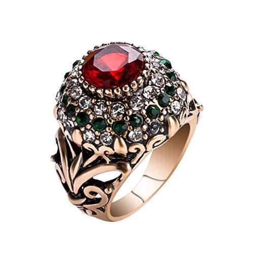 YAZILIND Anillo de declaración Retro Femenino Color Piedras Preciosas Anillos de Diamantes de imitación Mujeres Regalo de cumpleaños Joyas (Tamaño 14,5)