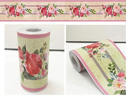 Borde del papel pintado Flor rosa Auto Adhesivo del Papel Pintado del PVC Cenefa autoadhesiva para decoración de pared de cocina, baño