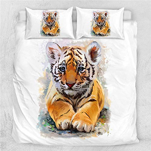 Dvvseso Duvet Cover with 2 Pillowcases 3D Printed Cartoon animal tiger Bedding Set with Zipper Closure Unique Design Anti-allergic Duvet Cover King size 240 x 220 cm -Duvet cover baby bedding