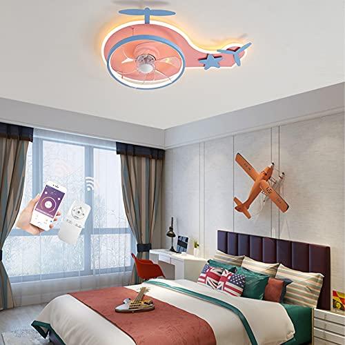 VOMI Ventilador de Techo con iluminación Luz con Mando a Distancia Luz Regulable, de techo con luz Y mando a distancia ventilador LED 26W con Temporizador Regulable, Para Habitaciones de Niños,Rosado