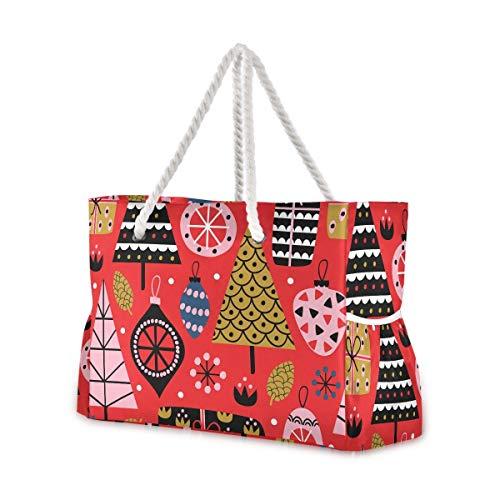 Mnsruu Bolsa de playa, decoración de Navidad, bolsa de viaje grande, asas de cuerda de algodón, bolsa de viaje para mujer