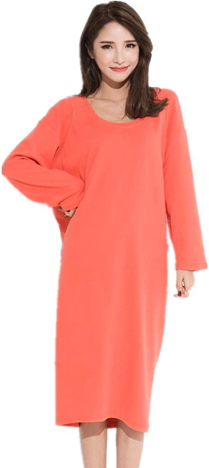 DMMSS Ladies' Sleeping Sleeve Spring & Autumn Cotton Sleeping Skirt Long Sleeve Pajamas Pure color Loose Home Service orange In The Long Skirt