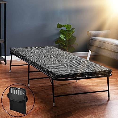 LiteBed Folding Bed with Memory Foam Mattress - Portable Fold Up Bed with Carrying Bag - Luxurious...
