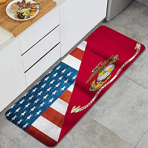 VAMIX Kitchen Rug,U.S. Marine Corps Military USMC,Design Anti Fatigue Kitchen Mat Comfort Floor Mats Non-Slip Oil Stain Resistant Easy to Clean Kitchen Rugs
