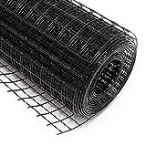 WilTec Malla de Alambre Cuadrada 19x19mm Color Negro, en Rollo de 25m Largo 100cm Alto, Acero galvanizado