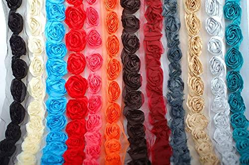 Borde de rosas suaves de gasa triturada esculpidas en base de red, 6 cm de ancho. Pasamanería de cinta de tela de Neotrims; Recorte en forma de rosa hecho de tela de gasa suave. Vivid Red, 1 meter