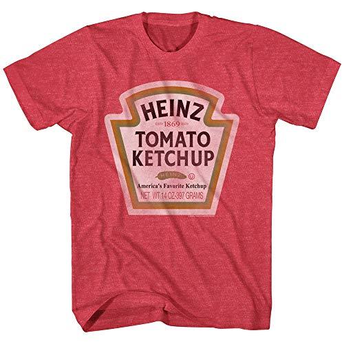 Heinz Ketchup Bottle Logo Classic Vintage Retro Funny Costume Men's T-Shirt (Red Heather, Medium)