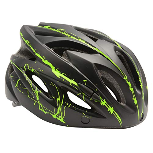 ZqiroLt Casco da Ciclismo, Prese d'Aria Regolabili Aerodinamiche Regolabili Casco da Corsa per Mountain Bike, Casco da Bici da Strada Opaco per Guida All'aperto con Occhiali Antivento Nero + Verde