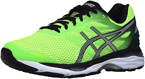 ASICS Men's Gel-Cumulus 18 Running Shoe, Green Gecko/Silver/Safety Yellow, 14 M US