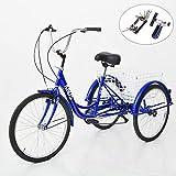 KUNS Adult Tricycle Trikes 7 Speed 3-Wheel Bikes,26 Inch Wheels...