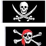 NewZC 2 Pack 90x150cm Super Groß Halloween Piratenflagge Gedruckte Totenkopf Flagge für Piraten-Party Halloween-Dekoration