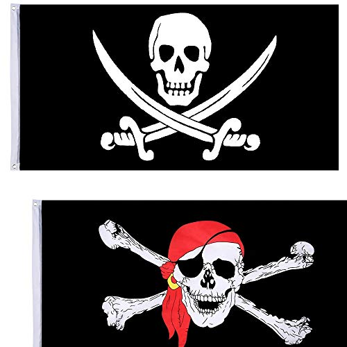 NewZC 2 Pack 90x150cm Super Groß Halloween Piratenflagge Gedruckte Totenkopf Flagge für Piraten-Party Halloween-Dekoration