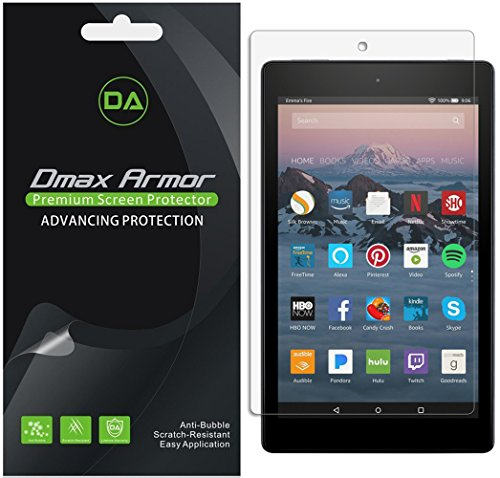 [3-Pack] Dmax Armor for All-New Fire HD 8 Tablet Screen Protector, Anti-Bubble High Definition Clear (2018/2017 Release)