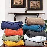 Urban Style Decor Ringspun - Manta de algodón tejido acogedor y transpirable de algodón térmico para cama y sofá/sofá (azul marino, King)