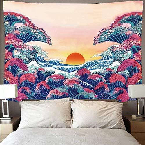 WERT Kanagawa Tapiz Gran Ola Mandala Colgante de Pared Alfombra de Plumas Tapiz Revestimiento de Pared Tapiz Boho Mural Tela de Fondo A21 130x150cm