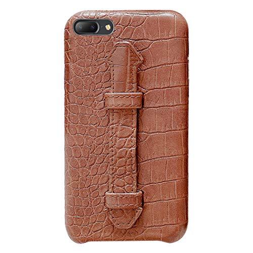 Suhctup Coque Compatible pour iPhone 7 Plus Rétro PU Cuir Cover Housse avec Fonction de Support [ 3D Emboss Crocodile Motif Texture Leather ] Ultra Fine Anti Choc Back Cover(Marron)