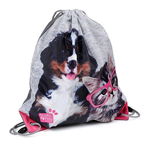 Kinder Turnbeutel/SPORTBEUTEL 36x32 cm - Studio Pets Collection - Hund & Katze - GRAU/PINK