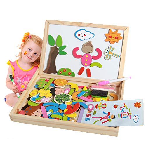 MUYU Kleinkind Puzzle Spiel Spielzeug Bildung Kinder magnetisches Puzzle Spielzeug Doppelseitig Gemälde Staffelei Geeignet für Kinder über 2 Jahre