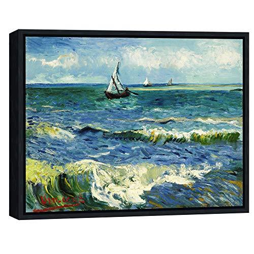 Wieco Art - Pintura al óleo de Vincent Van Gogh con diseño de Paisaje Marino en Saintes Maries, Negro, 16x12inch (Framed)