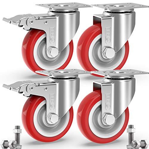 GBL - 4 Rollen für Möbel + Schrauben 125mm 800KG Transportrollen Set | Lenkrollen mit bremse | Schwerlastrollen rollen für Palettenmöbel | Möbelrollen