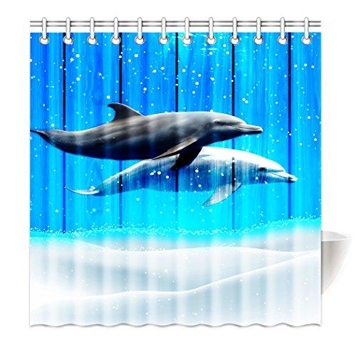 Violetpos Top Qualität Anti-Schimmel Duschvorhang Digitaldruck für Badezimmer Badvorhänge Kreativ Delphin Schnee Ozean Blaue Holzmaserung Meerestiere 200 x 180 cm