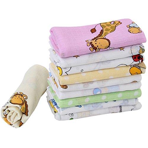 10 Stoffwindeln bunt für Mädchen Mullwindeln Spucktücher Baumwolle 70x80cm