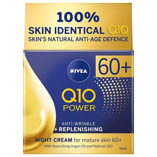 NIVEA Q10 Power 60+ Haut Anti-Falten + Replenishing Nachtcreme (50ml), Leistungsstarke Anti Aging Creme, Nacht-Feuchtigkeitscreme für Frauen mit Coenzym Q10, Nacht-Gesichtscreme