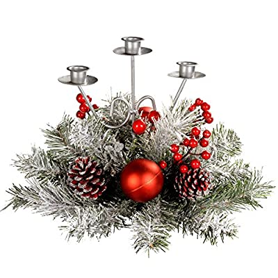Decorated Triple Candle Holder Table Christmas Decoration, 22 cm By WeRChristmas