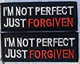 Bundle of 2 Patches I'm Not Perfect Just Forgiven Christian Bible Jesus Biker Vest Patch with Press-Down and Pull up Technology